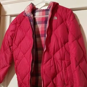 Hot pink The North Face reversible puffer jacket